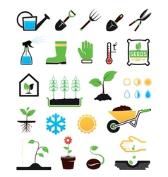 Gardening icons set vector