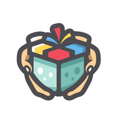 Gift box in hands icon cartoon vector