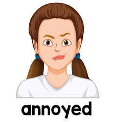 girl with annoyed face vector image