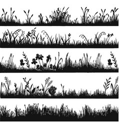 Grass silhouette design natural environment herb vector