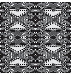 Grey geometry vintage floral seamless pattern vector