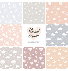 Hand drawn set of 8 background seamless vector