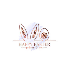 happy easter watercolor easter bunny gold card vector image