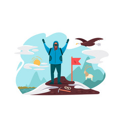 happy mountaineer on top mountain vector image