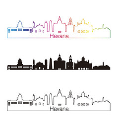 havana v2 skyline linear style with rainbow vector image