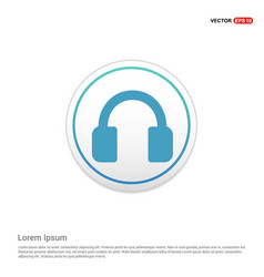 headphone icon - white circle button vector image