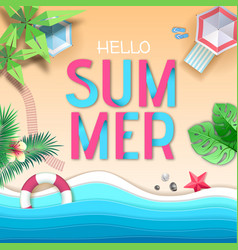 hello summer poster top view tropic vector image