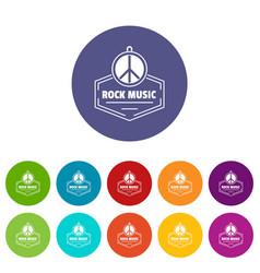 Hippie rock music icons set color vector