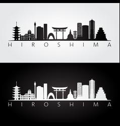 Hiroshima skyline and landmarks silhouette black vector