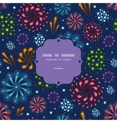 Holiday fireworks frame seamless pattern vector image