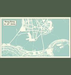 Hong kong china city map in retro style outline vector