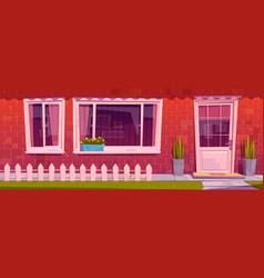 house facade with red brick wall window door vector image