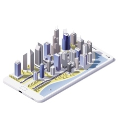 Isometric city on the smartphone screen vector
