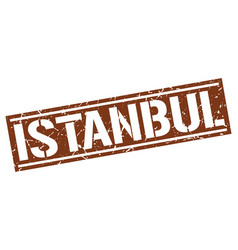 istanbul brown square stamp vector image vector image