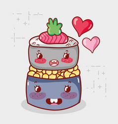 kawaii sushi roll caviar food japanese cartoon vector image