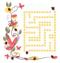 Labyrinth for ladybug on white background vector