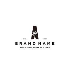 Letter a palm logo design concept vector