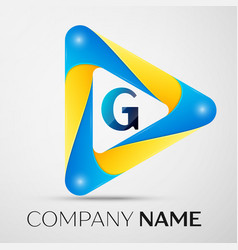 Letter g symbol in the colorful triangle vector