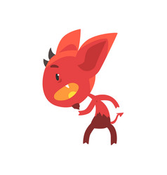 little red devil standing in threatening pose vector image