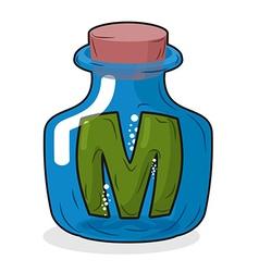 M in bottle Green letter in blue glass jar Magic vector