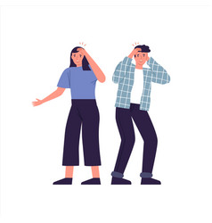 Man and woman having headache isolated vector