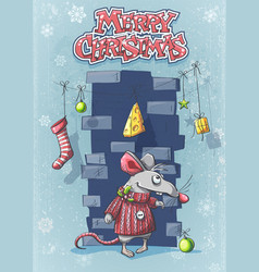 merry christmas with a cute cartoon mouse vector image