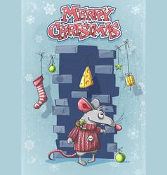 Merry christmas with a cute cartoon mouse vector