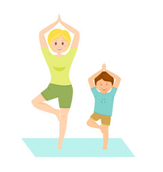 Mom and son doing yoga vector