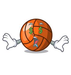 money eye volleyball mascot cartoon style vector image