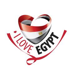 National flag egypt in shape a heart vector