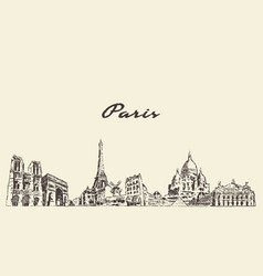 paris skyline france city drawn sketch vector image