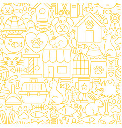 Pet shop white line seamless pattern vector