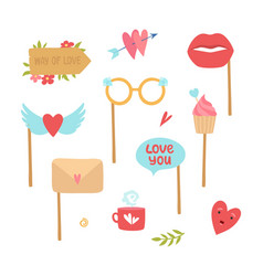 photo booth elements love decorations heart lips vector image