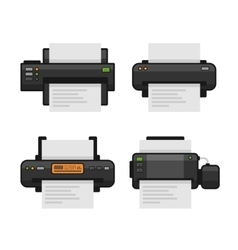Printer Icon Set Flat Style vector image vector image