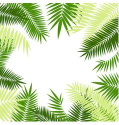 realistic 3d detailed green palm leaf frame vector image