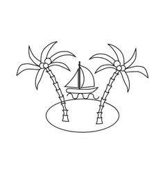 Sail boat and sea island with palm trees icon vector image