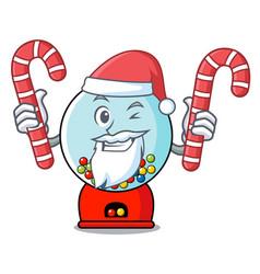 santa with candy gumball machine mascot cartoon vector image