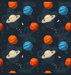seamless galaxy pattern with constellations vector image