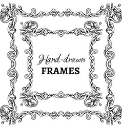 Set of hand-drawn vintage frames vector
