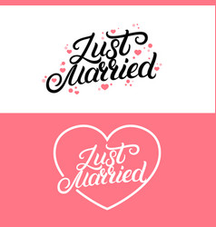 Set of just married hand lettering quote vector