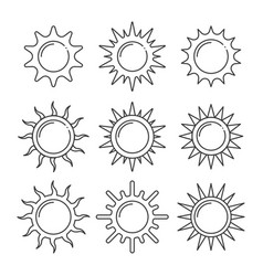 set sun line icons images vector image