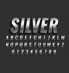 Shiny silver 3d style text effect design vector