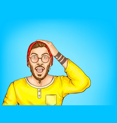 shocked hipster man with opened mouth vector image