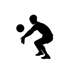 silhouette volleyball or basketball player flat vector image