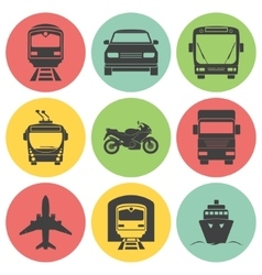 Simple monochromatic transport icons set vector