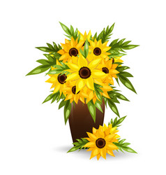 sunflower flowers in a pot vector image