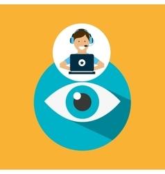 Support center with eye surveillance vector