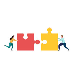 Teamwork men and women who assemble puzzle vector
