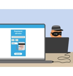 Thief connected to your laptop vector image