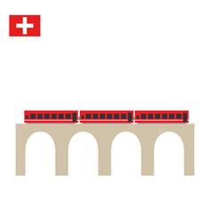 train on famous landwasser viaduct bridge vector image